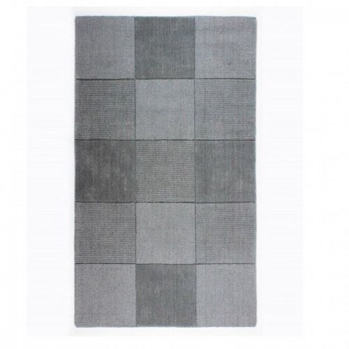 Wool Squares Light Grey Chequered Rug